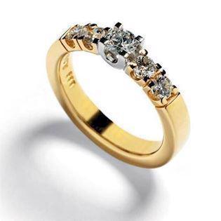 14 karat alliance ring i 4,2 mm m/ 0,57 ct Wesselton SI brillanter - både i hvid og gul guld
