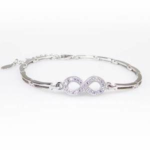 San - Link of joy  925 sterling sølv armbånd rhodineret, model 88505