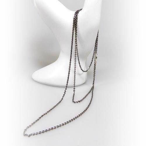 9b2746ac165 San - Link of joy 925 sterling sølv halskæde sort rhodineret, 80 cm
