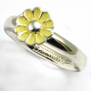 Spinning 925 sterling s�lv fingerring m/ beige blomst