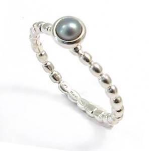 Spinning 925 sterling s�lv fingerring m/ s�lvgr� perle