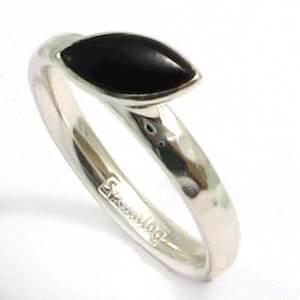 Spinning 925 sterling s�lv fingerring m/ sort onyx sten