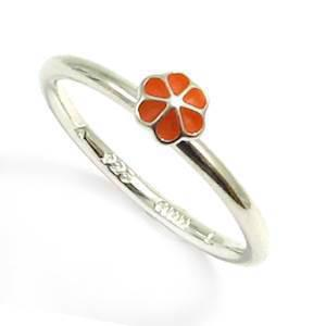 Spinning 925 sterling s�lv fingerring med orange blomst