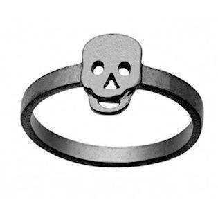 Zöl Skull sort rhodineret sølv Top fingerring matteret, model 48712300